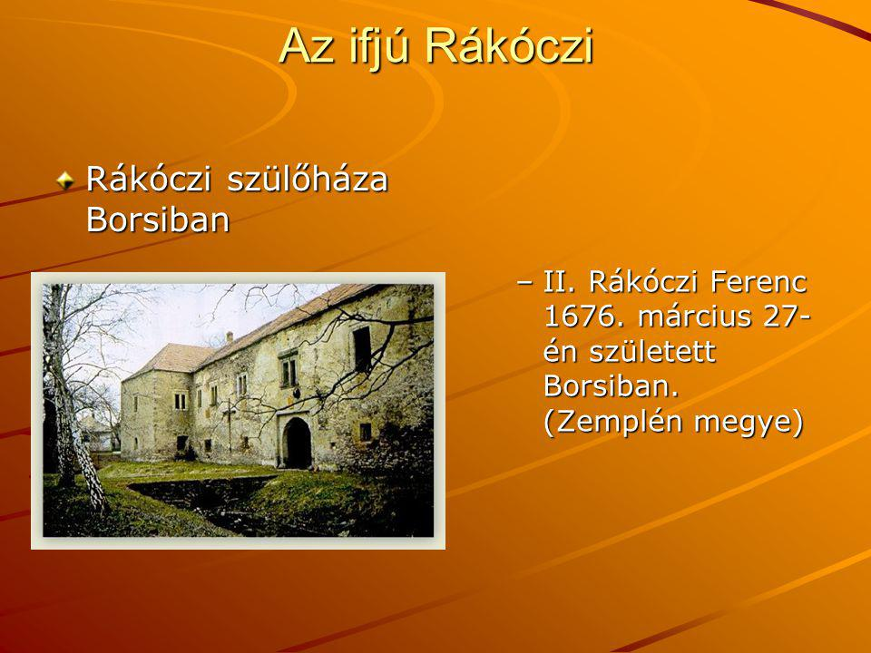 Az ifjú Rákóczi Rákóczi szülőháza Borsiban –II. Rákóczi Ferenc 1676. március 27- én született Borsiban. (Zemplén megye)