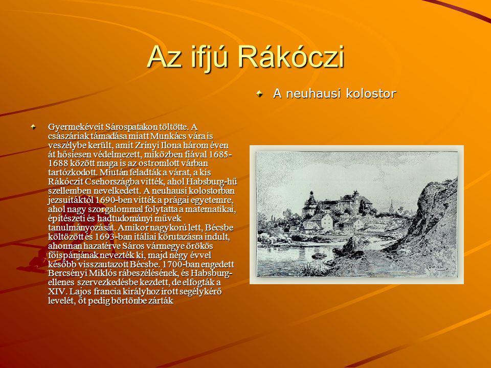 Az ifjú Rákóczi Gyermekéveit Sárospatakon töltötte. A császáriak támadása miatt Munkács vára is veszélybe került, amit Zrínyi Ilona három éven át hősi