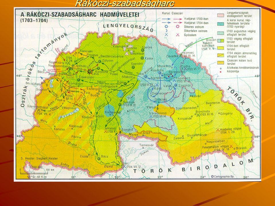 Rákóczi-szabadságharc hadműveletei térképen 1703-1704