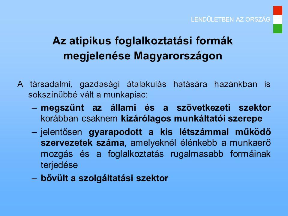 LENDÜLETBEN AZ ORSZÁG Az atipikus foglalkoztatási formák megjelenése Magyarországon A társadalmi, gazdasági átalakulás hatására hazánkban is sokszínűbbé vált a munkapiac: –megszűnt az állami és a szövetkezeti szektor korábban csaknem kizárólagos munkáltatói szerepe –jelentősen gyarapodott a kis létszámmal működő szervezetek száma, amelyeknél élénkebb a munkaerő mozgás és a foglalkoztatás rugalmasabb formáinak terjedése –bővült a szolgáltatási szektor