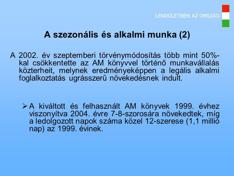LENDÜLETBEN AZ ORSZÁG A szezonális és alkalmi munka (2) A 2002.