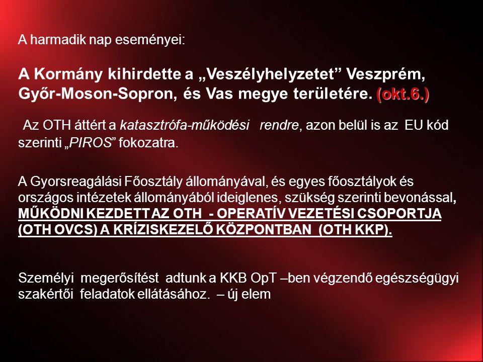 """A harmadik nap eseményei: (okt.6.) A Kormány kihirdette a """"Veszélyhelyzetet"""" Veszprém, Győr-Moson-Sopron, és Vas megye területére. (okt.6.) Az OTH átt"""