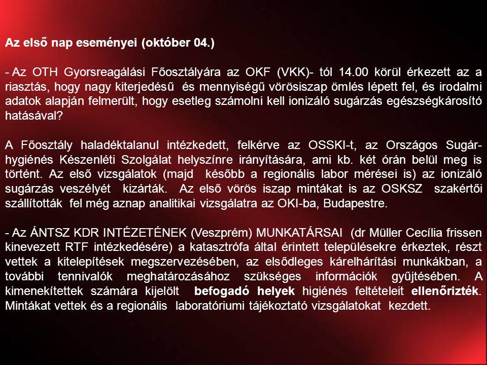 Az első nap eseményei (október 04.) - Az OTH Gyorsreagálási Főosztályára az OKF (VKK)- tól 14.00 körül érkezett az a riasztás, hogy nagy kiterjedésű é