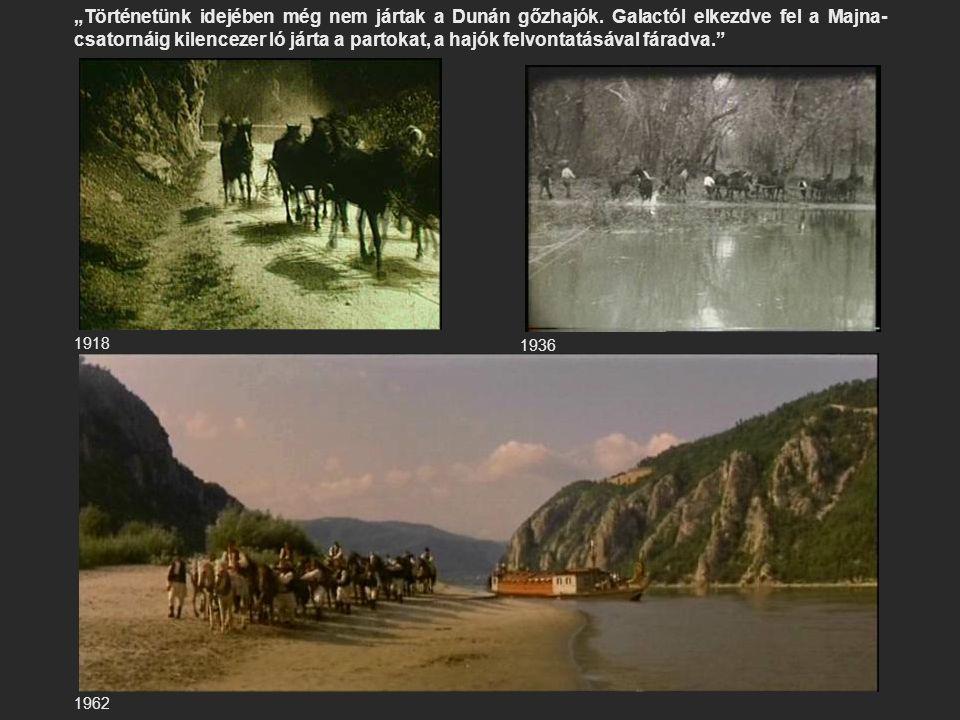"""1918 1936 1962 """"Történetünk idejében még nem jártak a Dunán gőzhajók. Galactól elkezdve fel a Majna- csatornáig kilencezer ló járta a partokat, a hajó"""