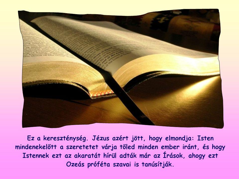 Ez azt fejezi ki, hogy az Istennek leginkább tetsző vallásos cselekedet a felebaráti szeretet, és ez az alapja az Istennek járó tiszteletadásnak is.