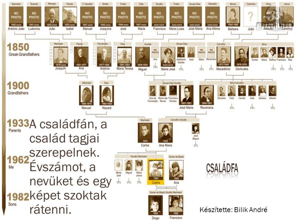A családfán, a család tagjai szerepelnek.Évszámot, a nevüket és egy képet szoktak rátenni.