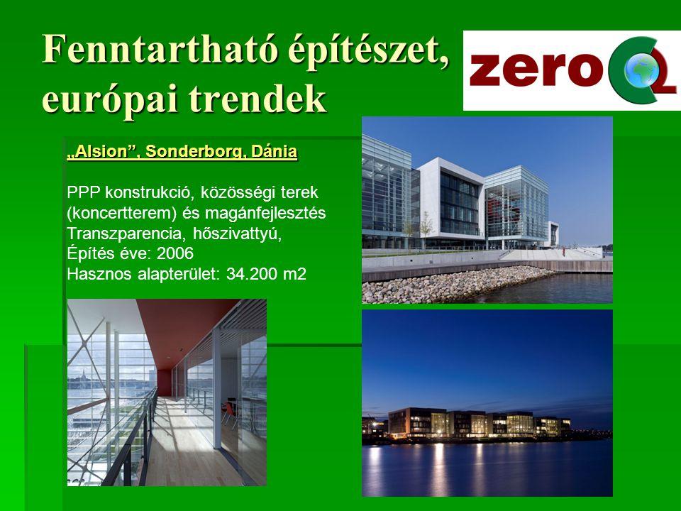 """Fenntartható építészet, európai trendek Seewürfel, Zürich, Svájc Beruházó: Swiss Life Telek területe: 5270 m 2 Hasznos alapterület: 6193 m 2 Befejezés: 2005 Korábbi ipari övezet (sörgyár) átépítése Svájci """"Minergia norma teljesítése Teljes energiaszükséglet min."""