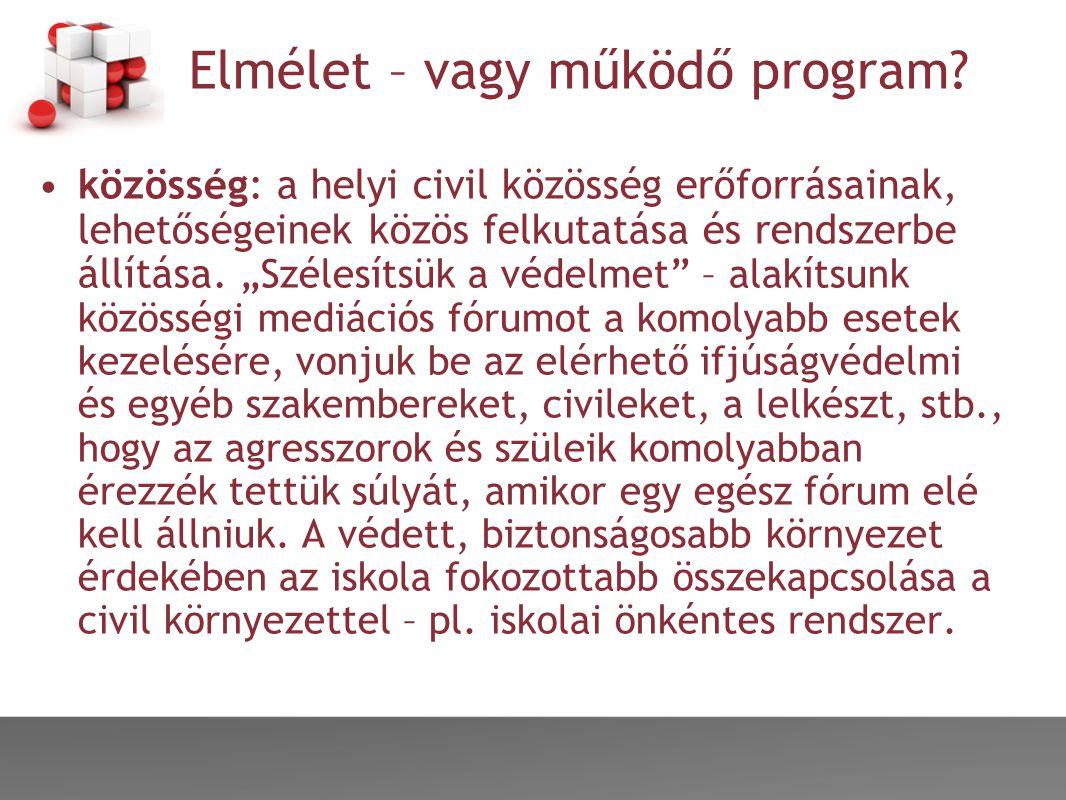 """Elmélet – vagy működő program? •közösség: a helyi civil közösség erőforrásainak, lehetőségeinek közös felkutatása és rendszerbe állítása. """"Szélesítsük"""