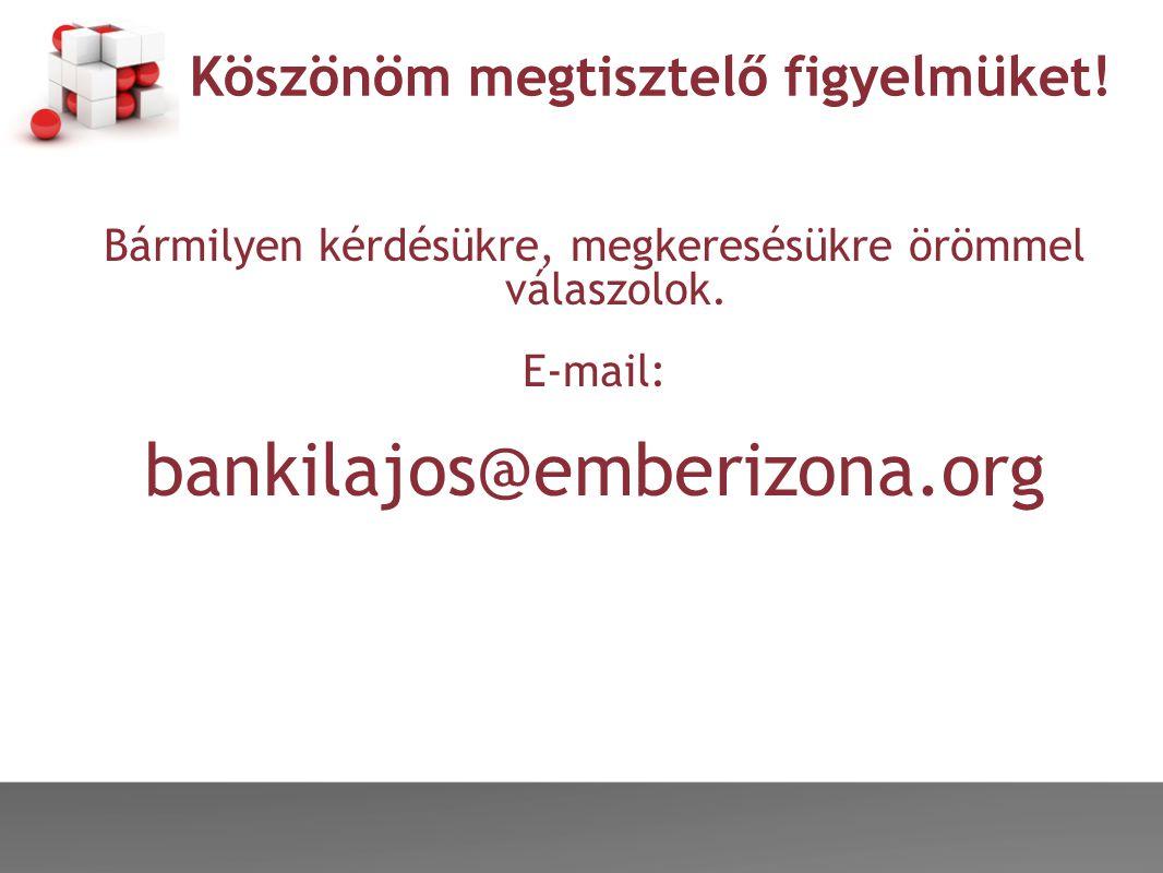 Köszönöm megtisztelő figyelmüket! Bármilyen kérdésükre, megkeresésükre örömmel válaszolok. E-mail: bankilajos@emberizona.org