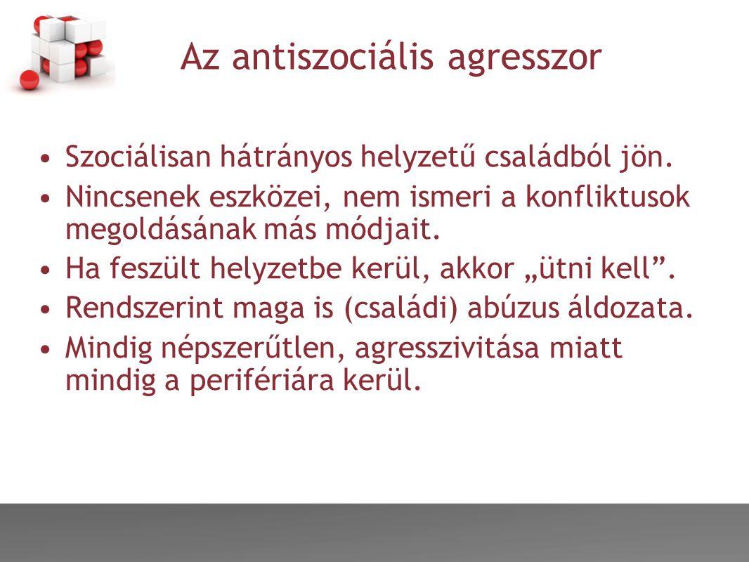 Az antiszociális agresszor •Szociálisan hátrányos helyzetű családból jön.
