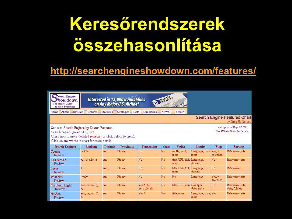 Keresőrendszerek összehasonlítása http://searchengineshowdown.com/features/
