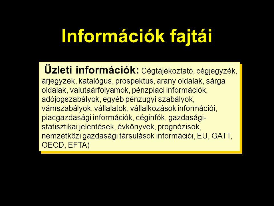 Információk fajtái  tudományos, műszaki üzleti  gazdasági-üzleti Üzleti információk: Cégtájékoztató, cégjegyzék, árjegyzék, katalógus, prospektus, a