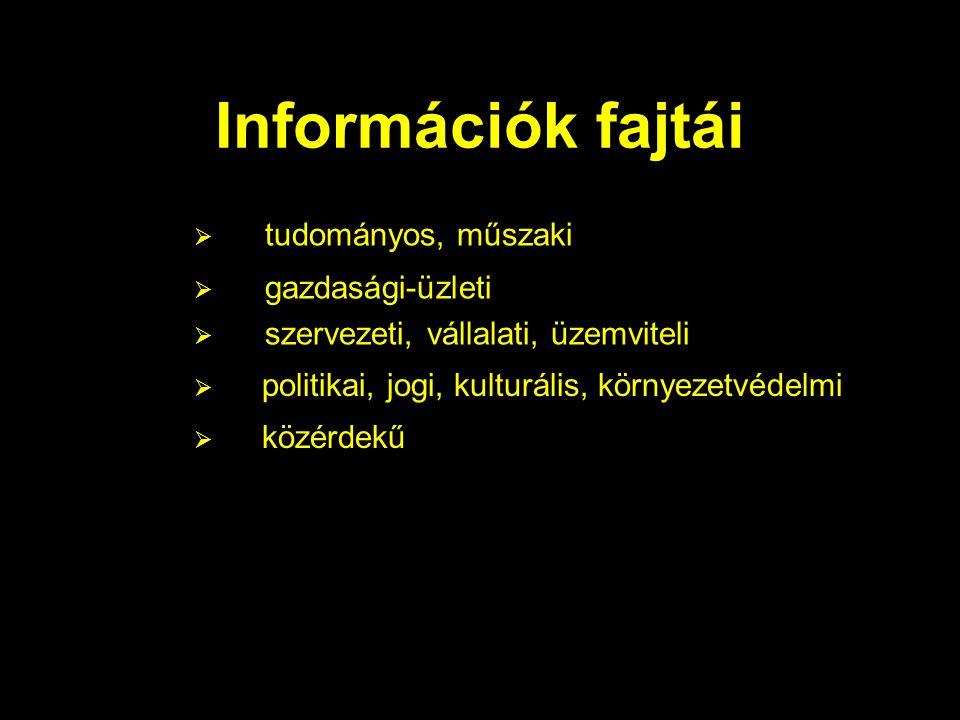 Információk fajtái  politikai, jogi, kulturális, környezetvédelmi  közérdekű  tudományos, műszaki  gazdasági-üzleti  szervezeti, vállalati, üzemv