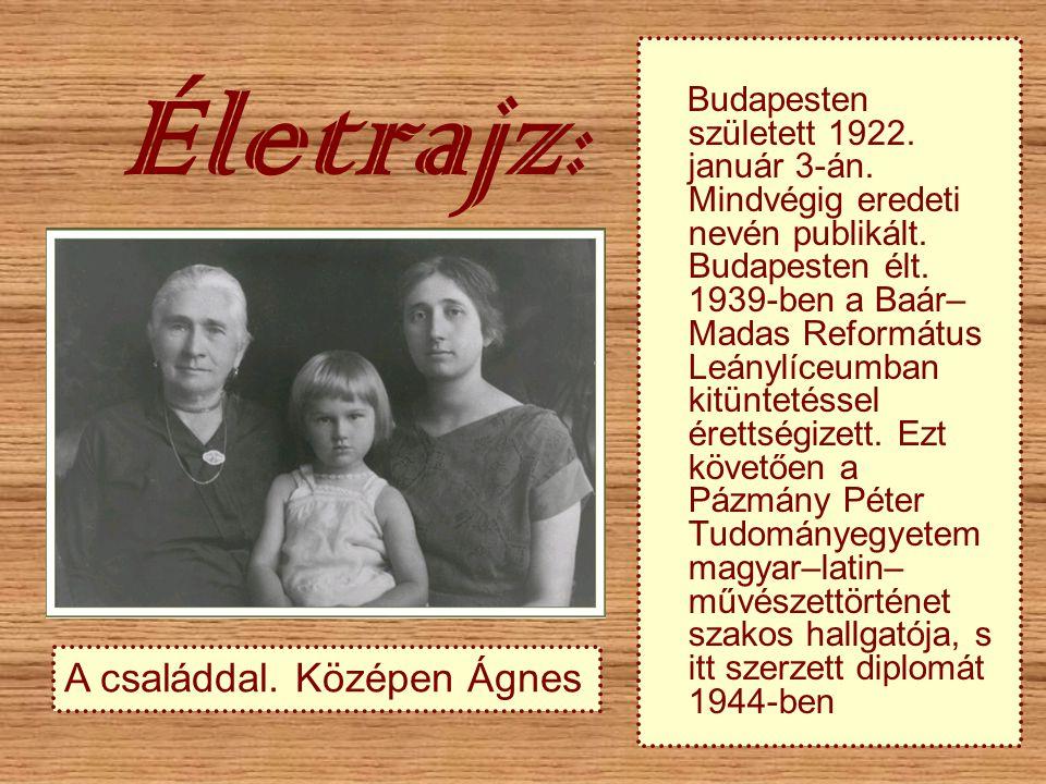 Életrajz : Budapesten született 1922. január 3-án. Mindvégig eredeti nevén publikált. Budapesten élt. 1939-ben a Baár– Madas Református Leánylíceumban