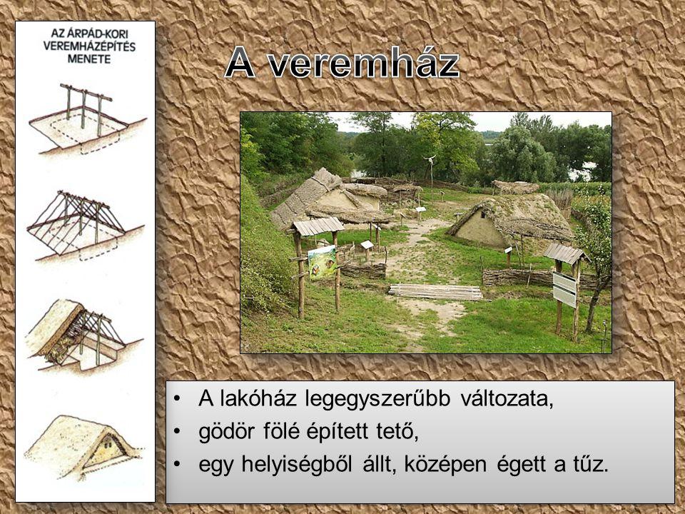•A lakóház legegyszerűbb változata, •gödör fölé épített tető, •egy helyiségből állt, középen égett a tűz. •A lakóház legegyszerűbb változata, •gödör f