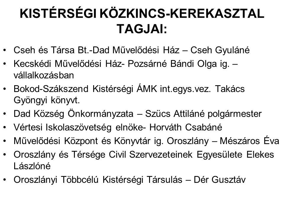 KISTÉRSÉGI KÖZKINCS-KEREKASZTAL TAGJAI: •Cseh és Társa Bt.-Dad Művelődési Ház – Cseh Gyuláné •Kecskédi Művelődési Ház- Pozsárné Bándi Olga ig. – válla