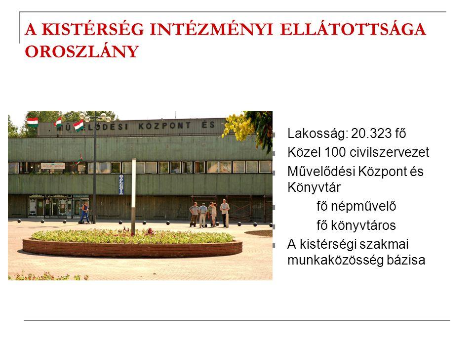 A KISTÉRSÉG INTÉZMÉNYI ELLÁTOTTSÁGA OROSZLÁNY  Lakosság: 20.323 fő  Közel 100 civilszervezet  Művelődési Központ és Könyvtár  fő népművelő  fő kö