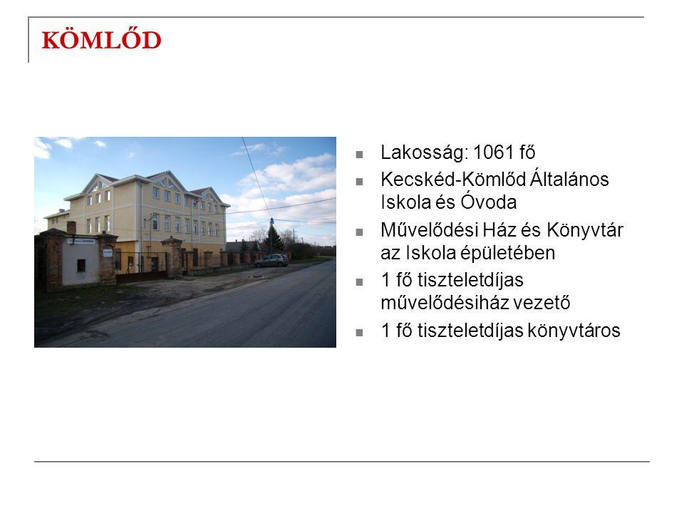 KÖMLŐD  Lakosság: 1061 fő  Kecskéd-Kömlőd Általános Iskola és Óvoda  Művelődési Ház és Könyvtár az Iskola épületében  1 fő tiszteletdíjas művelődé