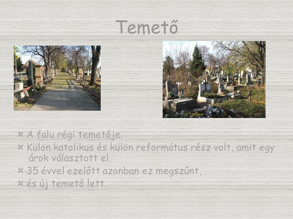 Temető ¤ A falu régi temetője. ¤ Külön katolikus és külön református rész volt, amit egy árok választott el. ¤ 35 évvel ezelőtt azonban ez megszűnt, ¤