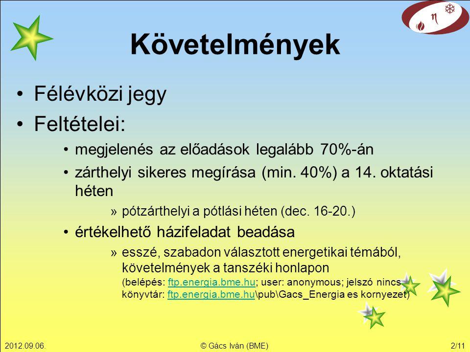 2012.09.06.© Gács Iván (BME)2/11 Követelmények •Félévközi jegy •Feltételei: •megjelenés az előadások legalább 70%-án •zárthelyi sikeres megírása (min.
