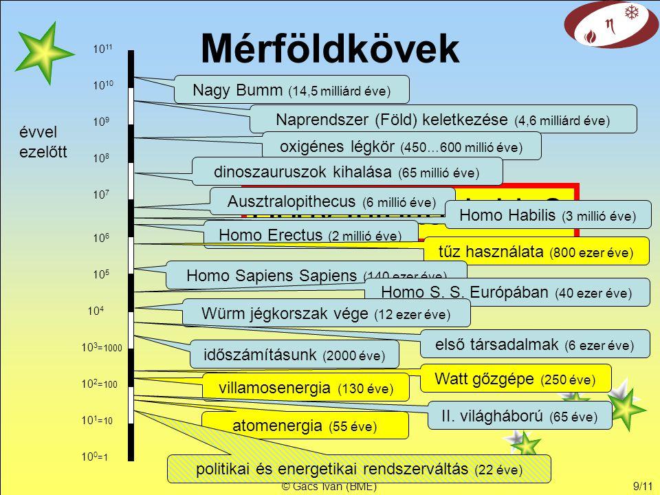 © Gács Iván (BME)9/11 Hogy jutottonk ide? Mérföldkövek Nagy Bumm (14,5 milliárd éve) Naprendszer (Föld) keletkezése (4,6 milliárd éve) évvel ezelőtt o