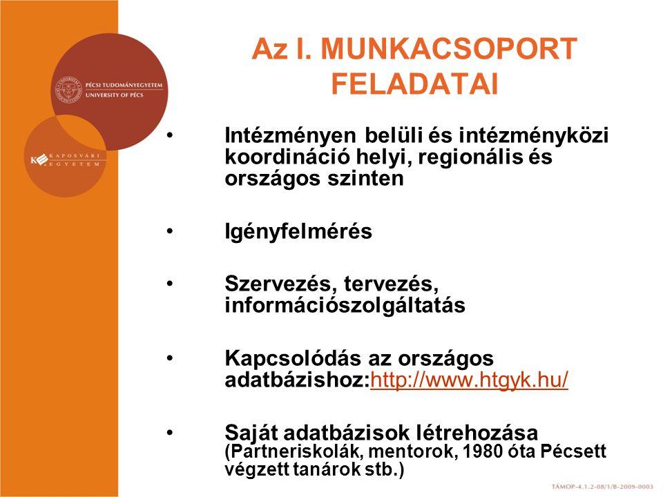 Az I. MUNKACSOPORT FELADATAI •Intézményen belüli és intézményközi koordináció helyi, regionális és országos szinten •Igényfelmérés •Szervezés, tervezé
