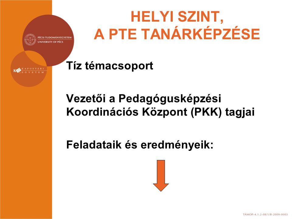 HELYI SZINT, A PTE TANÁRKÉPZÉSE Tíz témacsoport Vezetői a Pedagógusképzési Koordinációs Központ (PKK) tagjai Feladataik és eredményeik: