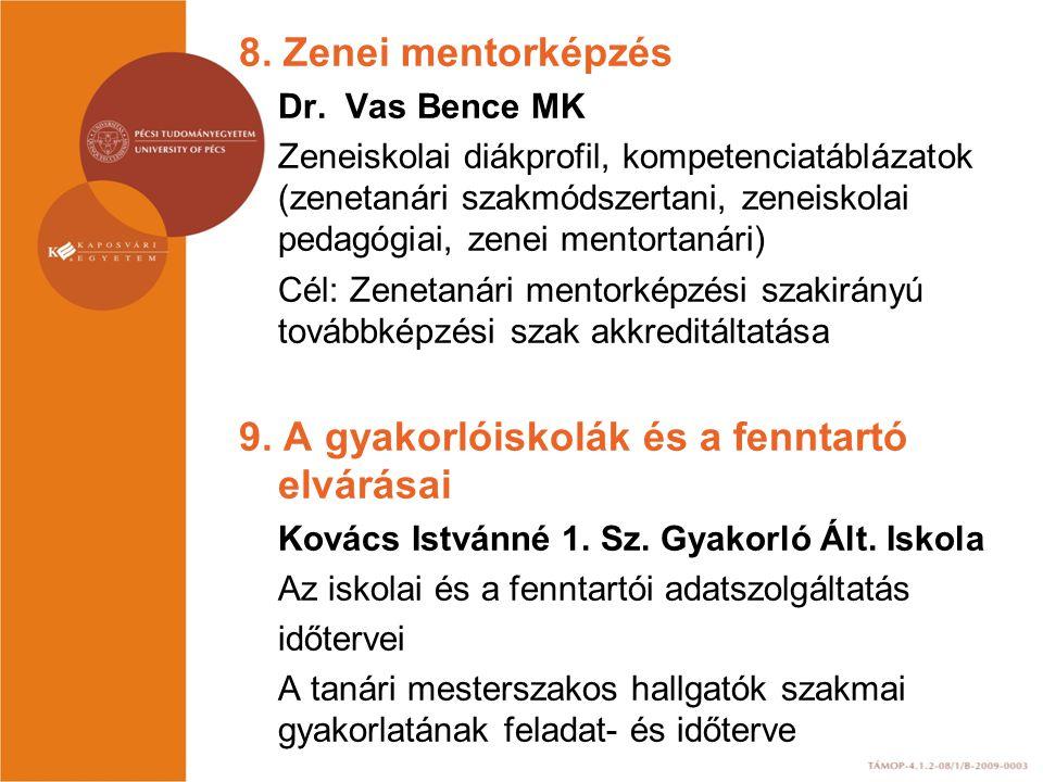 8. Zenei mentorképzés Dr. Vas Bence MK Zeneiskolai diákprofil, kompetenciatáblázatok (zenetanári szakmódszertani, zeneiskolai pedagógiai, zenei mentor