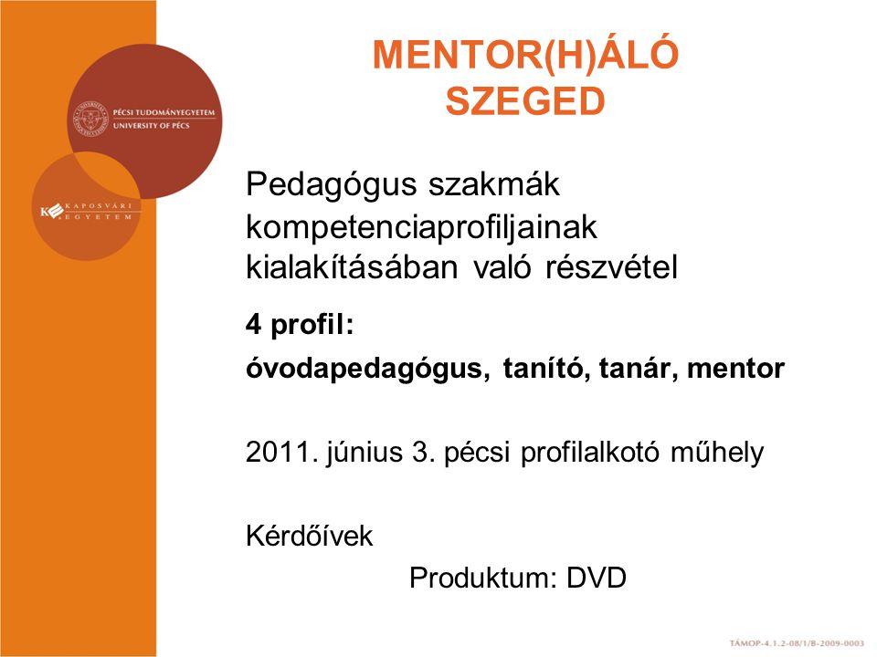 MENTOR(H)ÁLÓ SZEGED Pedagógus szakmák kompetenciaprofiljainak kialakításában való részvétel 4 profil: óvodapedagógus, tanító, tanár, mentor 2011. júni