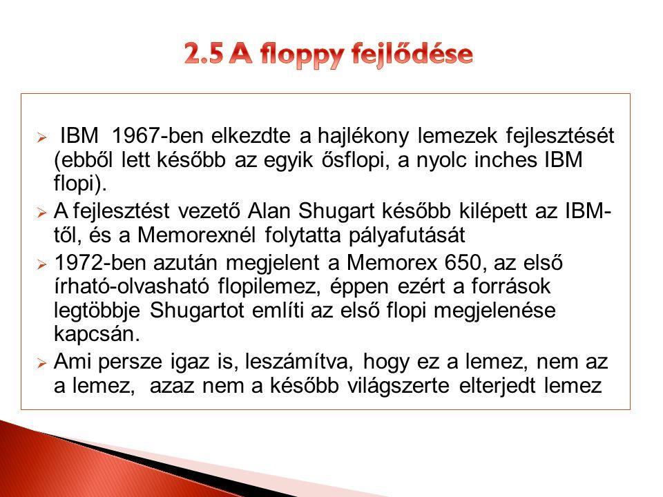  IBM 1967-ben elkezdte a hajlékony lemezek fejlesztését (ebből lett később az egyik ősflopi, a nyolc inches IBM flopi).  A fejlesztést vezető Alan S