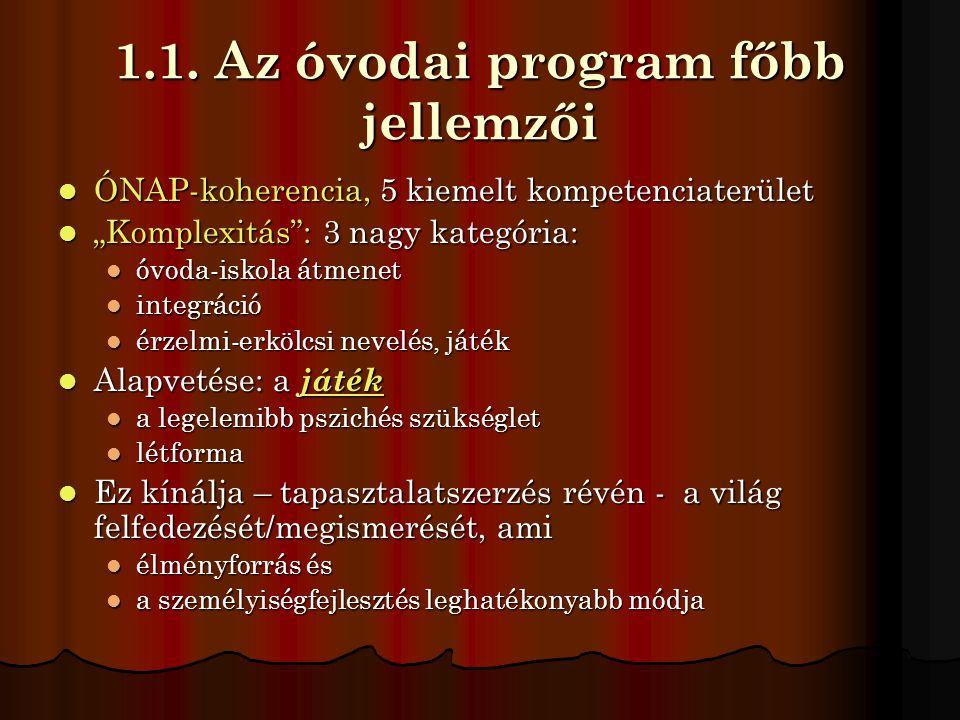 """1.1. Az óvodai program főbb jellemzői  ÓNAP-koherencia, 5 kiemelt kompetenciaterület  """"Komplexitás"""": 3 nagy kategória:  óvoda-iskola átmenet  inte"""