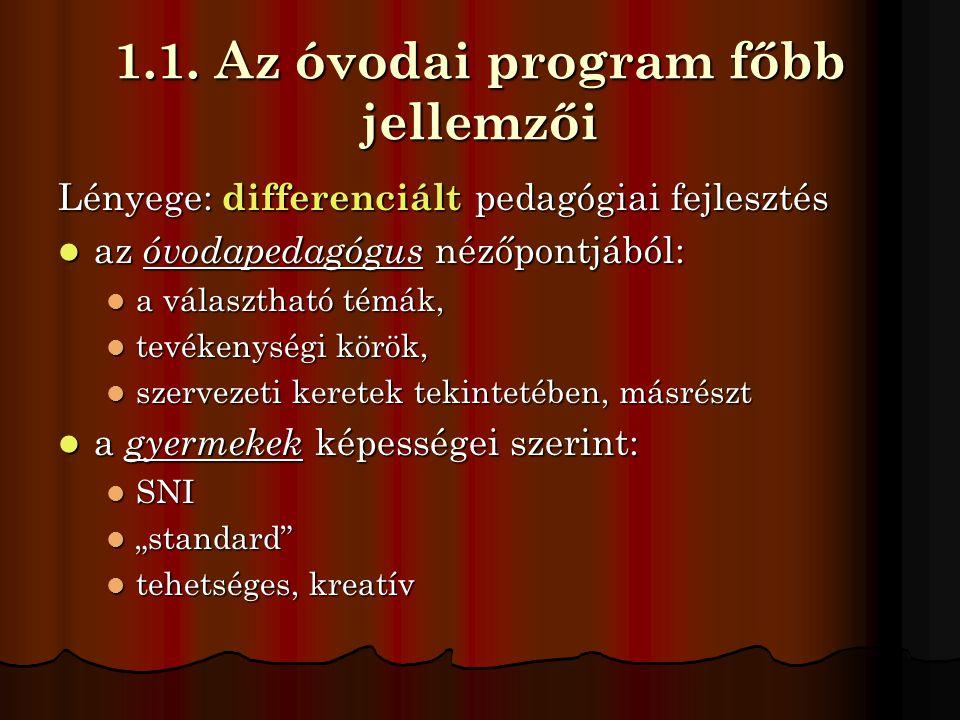 1.1. Az óvodai program főbb jellemzői Lényege: differenciált pedagógiai fejlesztés  az óvodapedagógus nézőpontjából:  a választható témák,  tevéken
