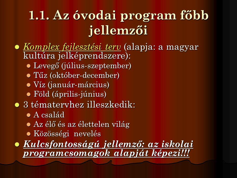 1.1. Az óvodai program főbb jellemzői  Komplex fejlesztési terv (alapja: a magyar kultúra jelképrendszere):  Levegő (július-szeptember)  Tűz (októb