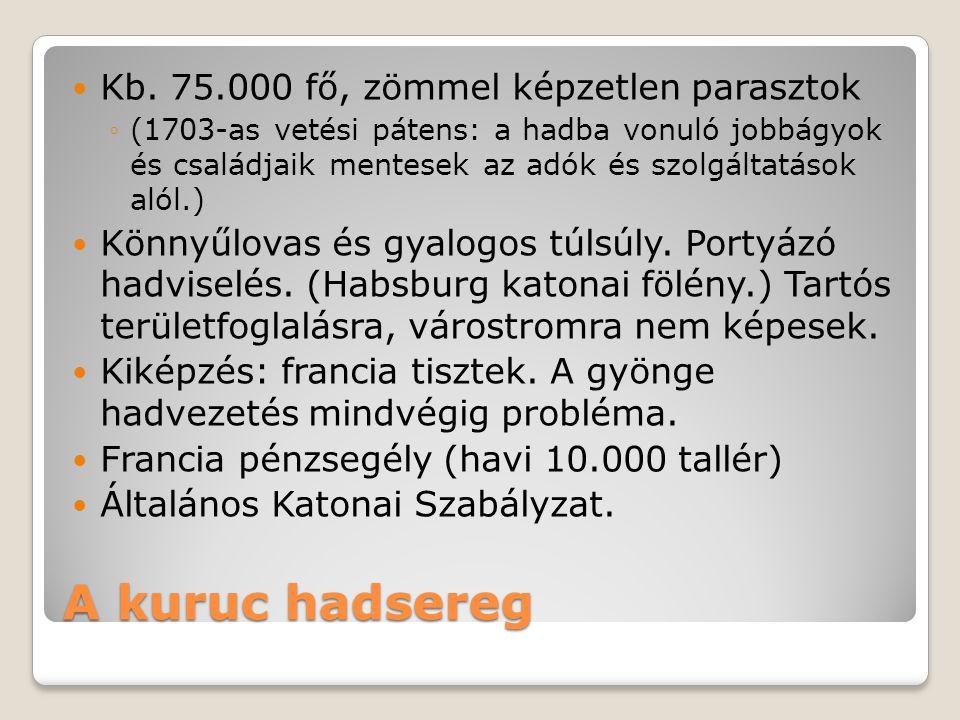 A kuruc hadsereg  Kb. 75.000 fő, zömmel képzetlen parasztok ◦(1703-as vetési pátens: a hadba vonuló jobbágyok és családjaik mentesek az adók és szolg