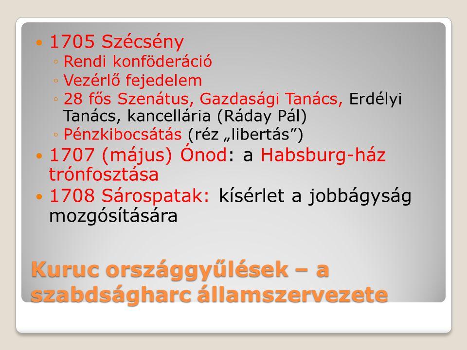 Kuruc országgyűlések – a szabdságharc államszervezete  1705 Szécsény ◦Rendi konföderáció ◦Vezérlő fejedelem ◦28 fős Szenátus, Gazdasági Tanács, Erdél