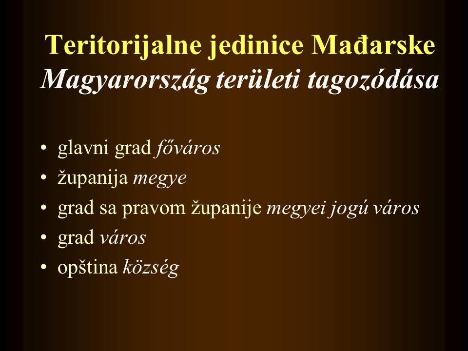 Teritorijalne jedinice Mađarske Magyarország területi tagozódása •glavni grad főváros •županija megye •grad sa pravom županije megyei jogú város •grad város •opština község