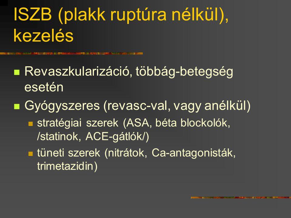 ISZB (plakk ruptúra nélkül), kezelés  Revaszkularizáció, többág-betegség esetén  Gyógyszeres (revasc-val, vagy anélkül)  stratégiai szerek (ASA, bé