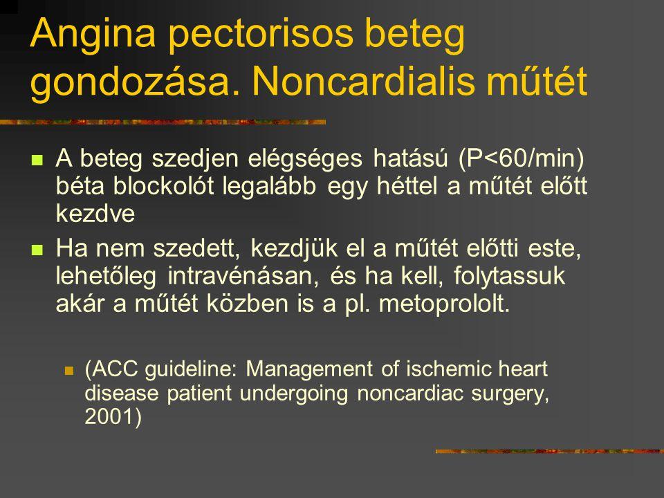 Angina pectorisos beteg gondozása. Noncardialis műtét  A beteg szedjen elégséges hatású (P<60/min) béta blockolót legalább egy héttel a műtét előtt k