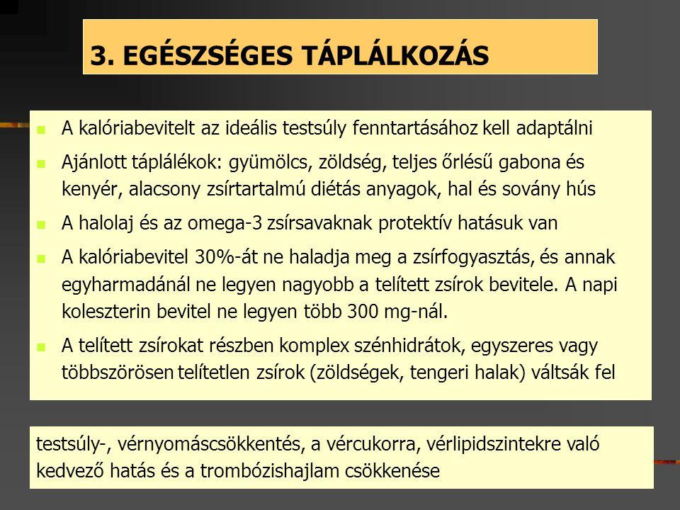 3. EGÉSZSÉGES TÁPLÁLKOZÁS  A kalóriabevitelt az ideális testsúly fenntartásához kell adaptálni  Ajánlott táplálékok: gyümölcs, zöldség, teljes őrlés