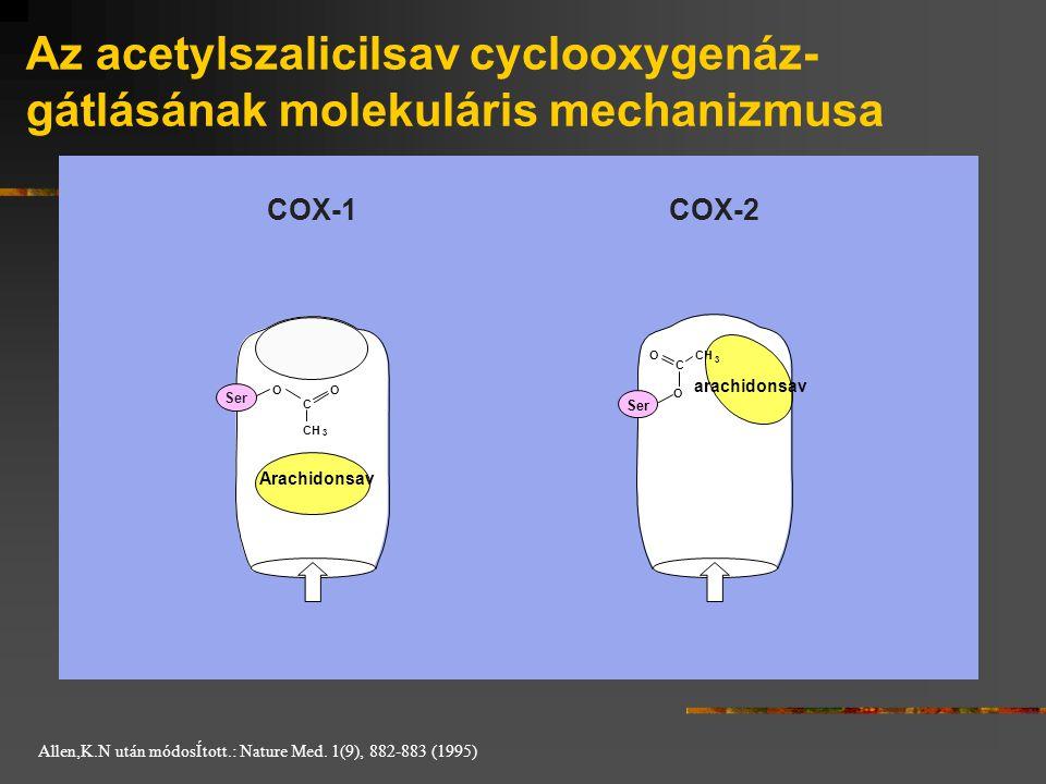 Az acetylszalicilsav cyclooxygenáz- gátlásának molekuláris mechanizmusa COX-1COX-2 O C O CH 3 3 OO C Ser Arachidonsav arachidonsav Allen,K.N után módo