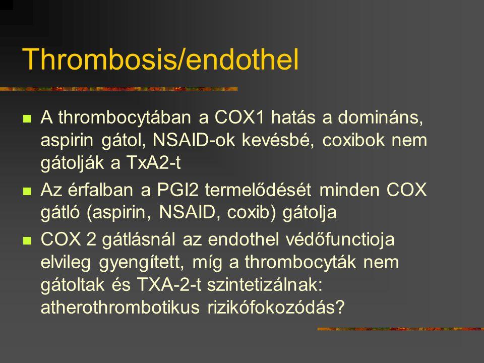 Thrombosis/endothel  A thrombocytában a COX1 hatás a domináns, aspirin gátol, NSAID-ok kevésbé, coxibok nem gátolják a TxA2-t  Az érfalban a PGI2 te