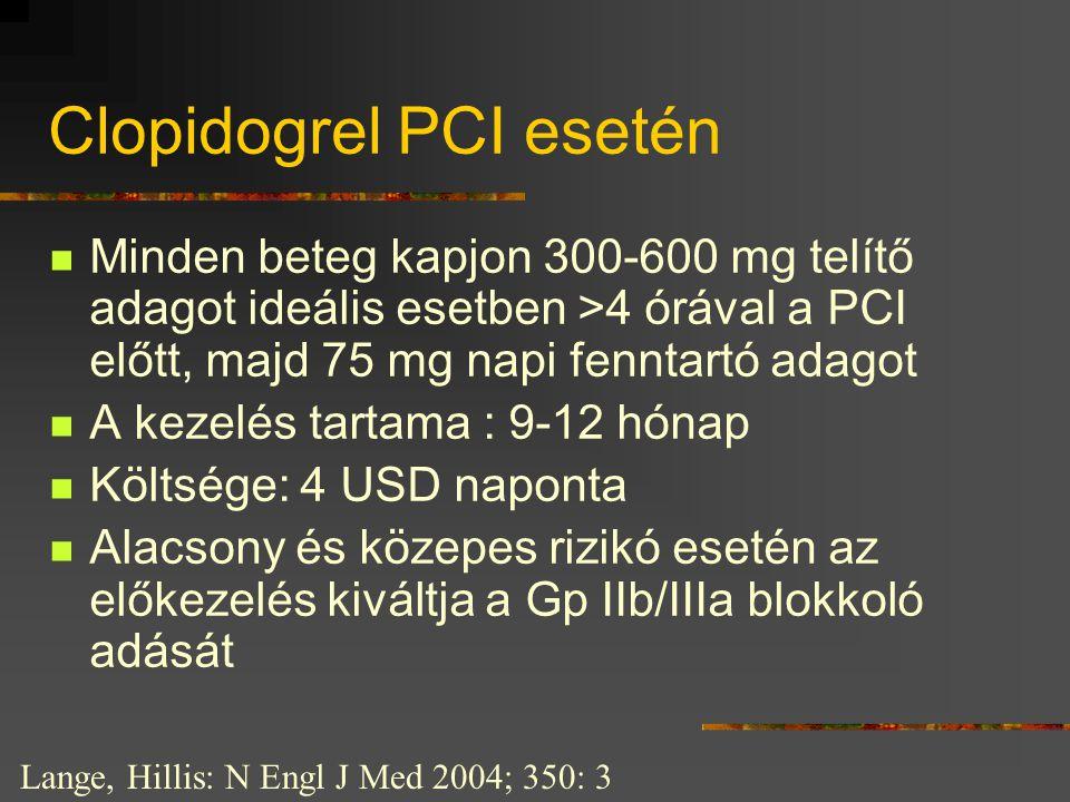 Clopidogrel PCI esetén  Minden beteg kapjon 300-600 mg telítő adagot ideális esetben >4 órával a PCI előtt, majd 75 mg napi fenntartó adagot  A keze