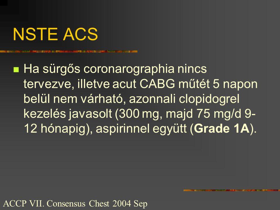 NSTE ACS  Ha sürgős coronarographia nincs tervezve, illetve acut CABG műtét 5 napon belül nem várható, azonnali clopidogrel kezelés javasolt (300 mg,