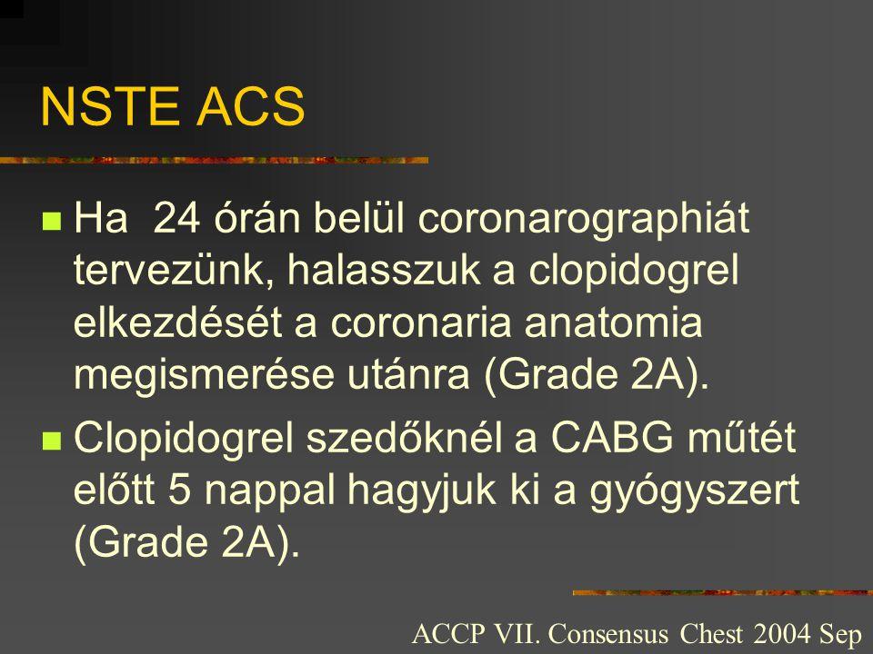 NSTE ACS  Ha 24 órán belül coronarographiát tervezünk, halasszuk a clopidogrel elkezdését a coronaria anatomia megismerése utánra (Grade 2A).  Clopi