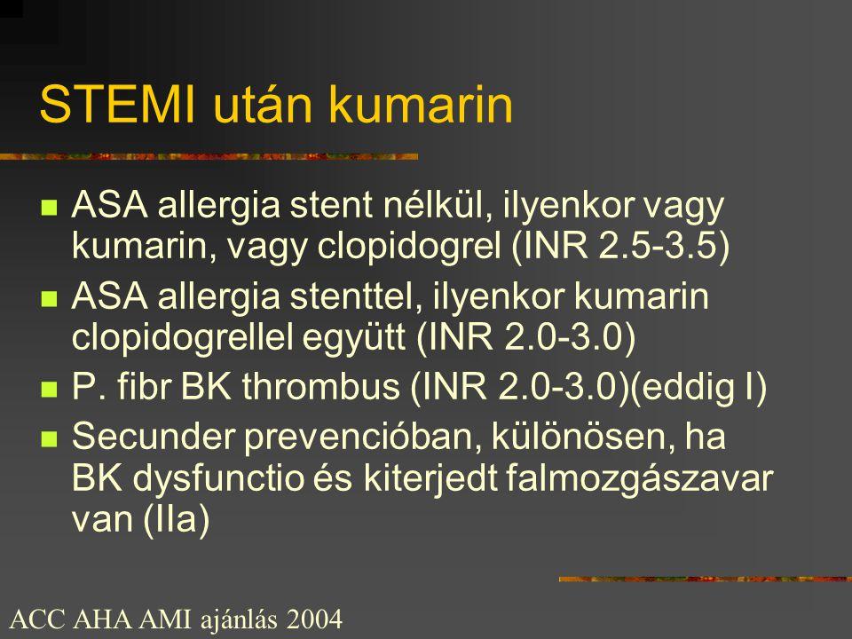 STEMI után kumarin  ASA allergia stent nélkül, ilyenkor vagy kumarin, vagy clopidogrel (INR 2.5-3.5)  ASA allergia stenttel, ilyenkor kumarin clopid