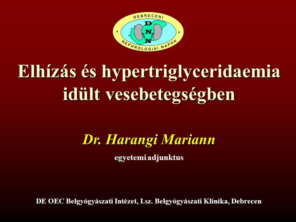 Elhízás és hypertriglyceridaemia idült vesebetegségben Dr. Harangi Mariann egyetemi adjunktus DE OEC Belgyógyászati Intézet, I.sz. Belgyógyászati Klin