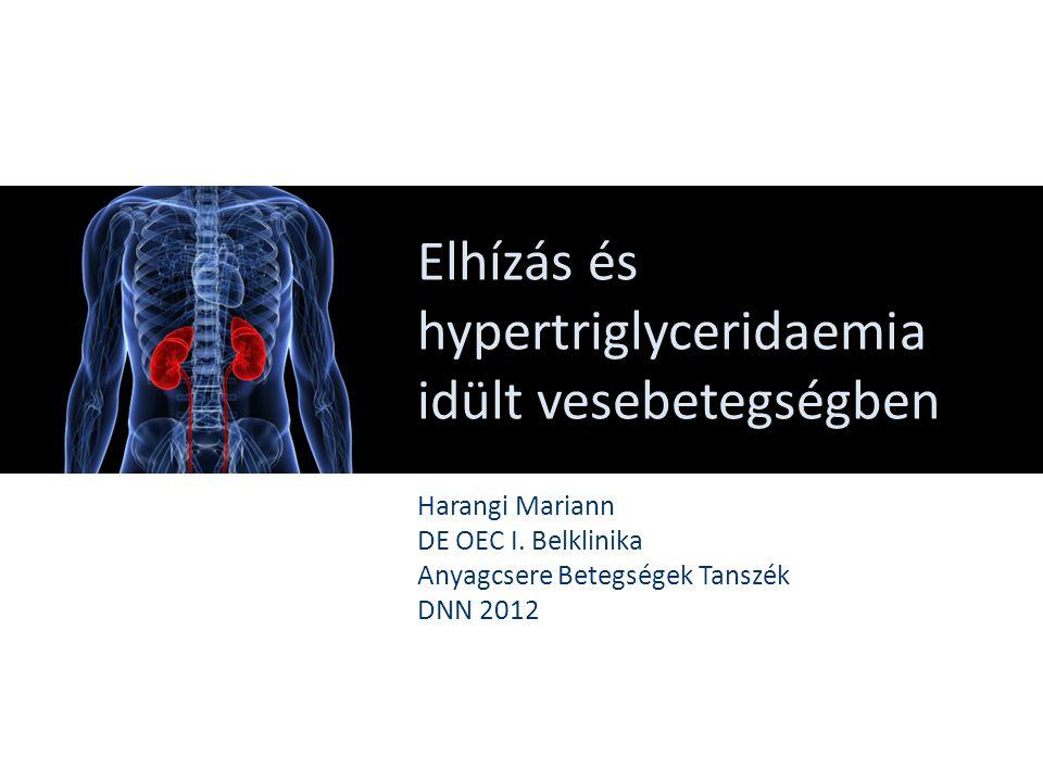 Elhízás és hypertriglyceridaemia idült vesebetegségben Harangi Mariann DE OEC I. Belklinika Anyagcsere Betegségek Tanszék DNN 2012