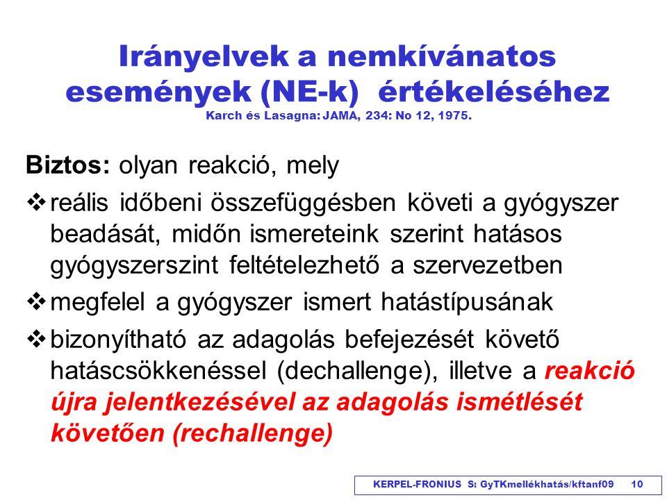 KERPEL-FRONIUS S: GyTKmellékhatás/kftanf09 10 Irányelvek a nemkívánatos események (NE-k) értékeléséhez Karch és Lasagna: JAMA, 234: No 12, 1975. Bizto