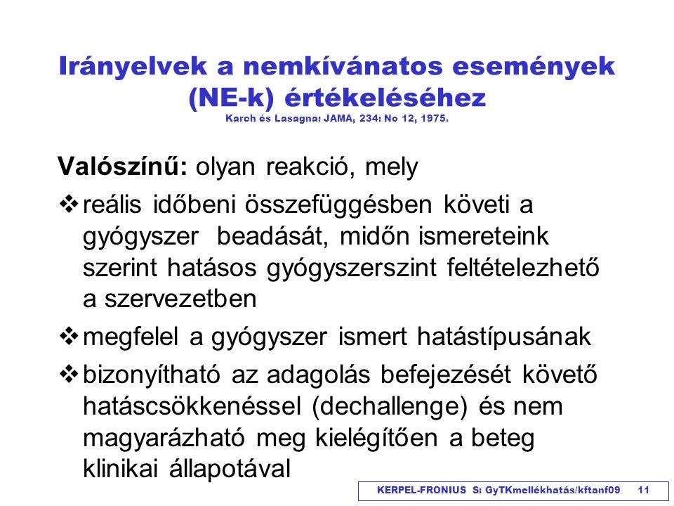 KERPEL-FRONIUS S: GyTKmellékhatás/kftanf09 11 Irányelvek a nemkívánatos események (NE-k) értékeléséhez Karch és Lasagna: JAMA, 234: No 12, 1975. Valós