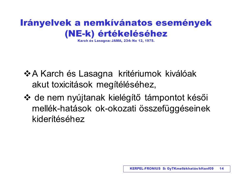 KERPEL-FRONIUS S: GyTKmellékhatás/kftanf09 14 Irányelvek a nemkívánatos események (NE-k) értékeléséhez Karch és Lasagna: JAMA, 234: No 12, 1975.  A K